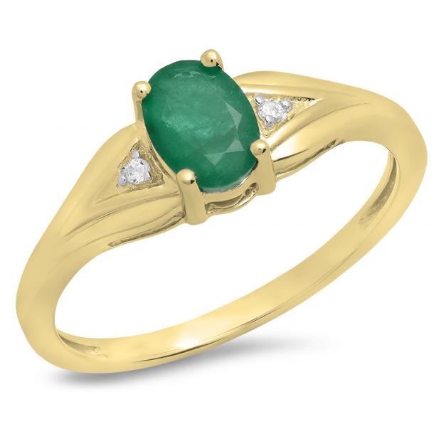 0.85 Carat (ctw) 18K Yellow Gold Oval Emerald & Round White Diamond Ladies Bridal Engagement Ring