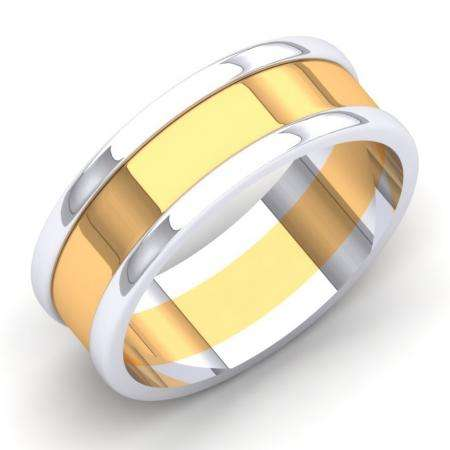 18K White & Yellow Gold Two Tone Polished Shiny Comfort Fit Men