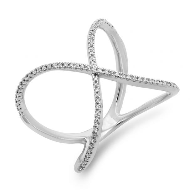 0.30 Carat (ctw) 10K White Gold Round Diamond Ladies Anniversary Wedding Band Criss Cross X Geometric Ring 1/3 CT