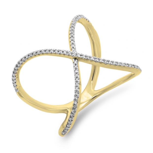 0.30 Carat (ctw) 18K Yellow Gold Round Diamond Ladies Anniversary Wedding Band Criss Cross X Geometric Ring 1/3 CT
