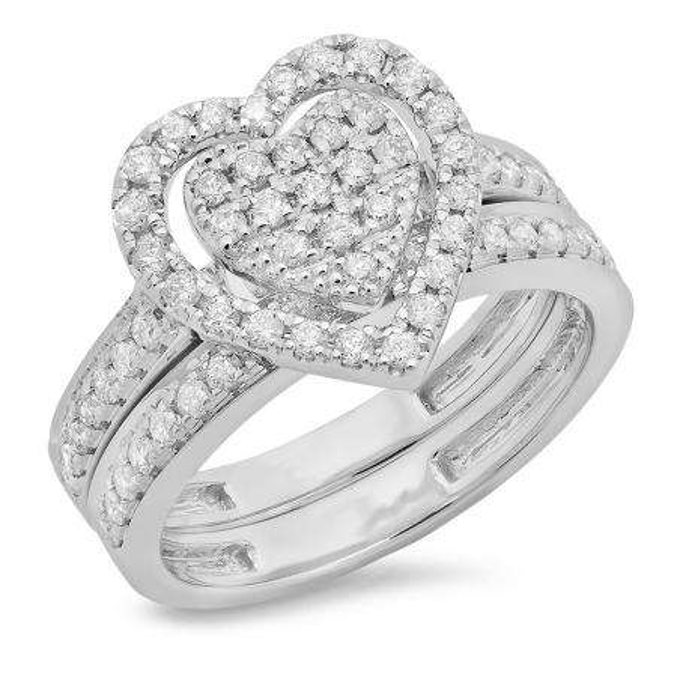 0.80 Carat (ctw) 10K White Gold Round Cut White Diamond Ladies Heart Shaped Bridal Engagement Ring With Matching Band Set 3/4 CT