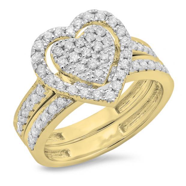 0.80 Carat (ctw) 18K Yellow Gold Round Cut White Diamond Ladies Heart Shaped Bridal Engagement Ring With Matching Band Set 3/4 CT