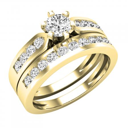 0.95 Carat (ctw) 18K Yellow Gold Round Cut Diamond Ladies Bridal Engagement Ring Set With Matching Band 1 CT