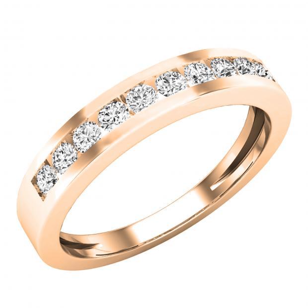 0.35 Carat (ctw) 18K Rose Gold Round Diamond Ladies Stackable Anniversary Wedding Band 1/3 CT