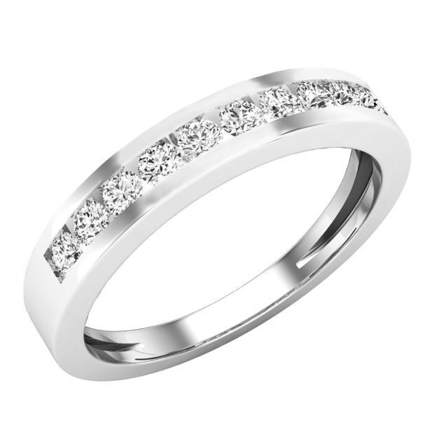 0.35 Carat (ctw) 18K White Gold Round Diamond Ladies Stackable Anniversary Wedding Band 1/3 CT