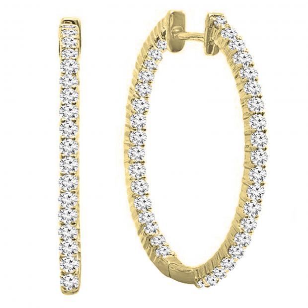 0.85 Carat (ctw) 14K Yellow Gold Round Cut White Diamond Ladies Hoop Earrings 3/4 CT