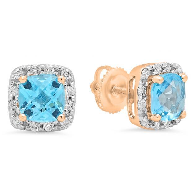 2.70 Carat (ctw) 14K Rose Gold Cushion Cut Blue Topaz & Round Cut White Diamond Ladies Square Frame Halo Stud Earrings