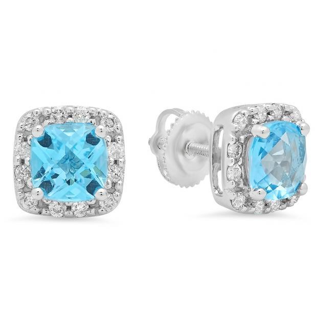 2.70 Carat (ctw) 14K White Gold Cushion Cut Blue Topaz & Round Cut White Diamond Ladies Square Frame Halo Stud Earrings