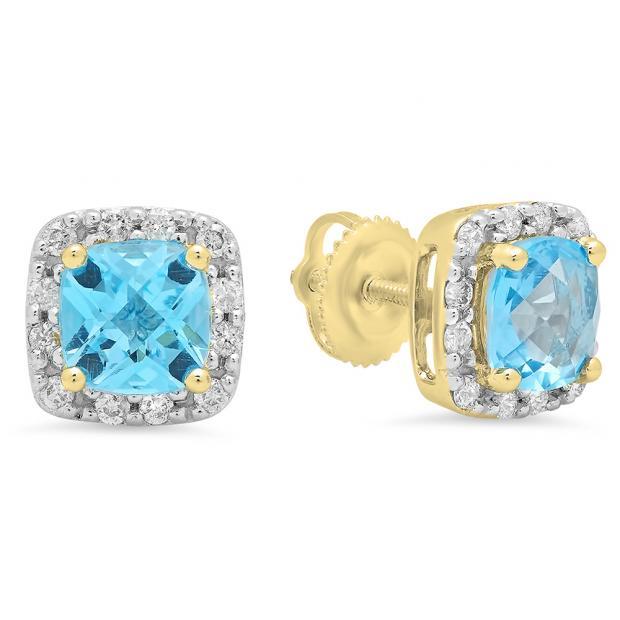 2.70 Carat (ctw) 18K Yellow Gold Cushion Cut Blue Topaz & Round Cut White Diamond Ladies Square Frame Halo Stud Earrings
