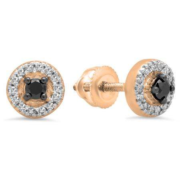 0.25 Carat (Ctw) 14K Rose Gold Round Black & White Diamond Ladies Halo Style Stud Earrings 1/4 CT