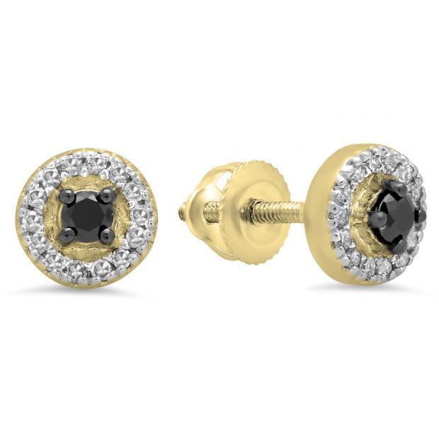 0.25 Carat (Ctw) 18K Yellow Gold Round Black & White Diamond Ladies Halo Style Stud Earrings 1/4 CT