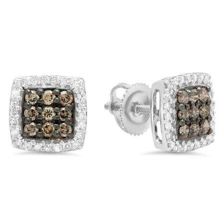 0.60 Carat (ctw) 14K White Gold Round Cut Champagne & White Diamond Square Shaped Stud Earrings