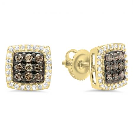 0.60 Carat (ctw) 14K Yellow Gold Round Cut Champagne & White Diamond Square Shaped Stud Earrings