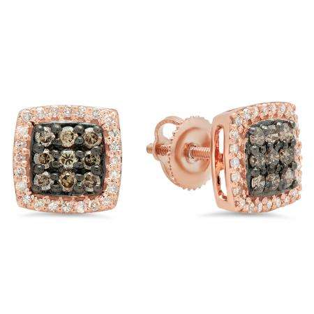 0.60 Carat (ctw) 18K Rose Gold Round Cut Champagne & White Diamond Square Shaped Stud Earrings