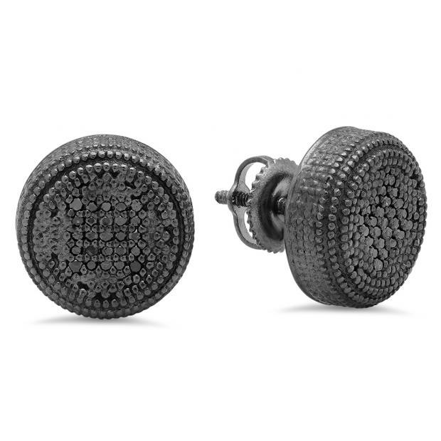 0.15 Carat (Ctw) Black Rhodium Plated Sterling Silver Round Cut Black Diamond Ladies Millgrain Cluster Stud Earrings
