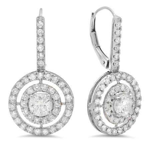 2.20 Carat (Ctw) 14K White Gold Round Cut Diamond Ladies Halo Style Dangling Drop Earrings