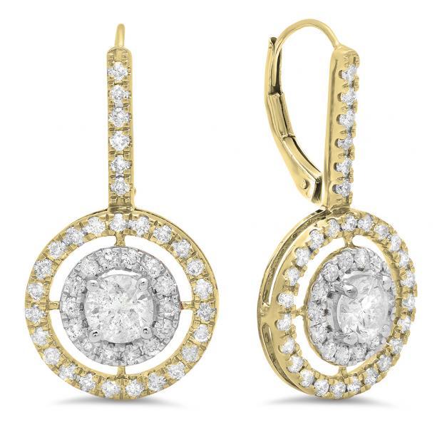 2.20 Carat (Ctw) 18K Yellow Gold Round Cut Diamond Ladies Halo Style Dangling Drop Earrings
