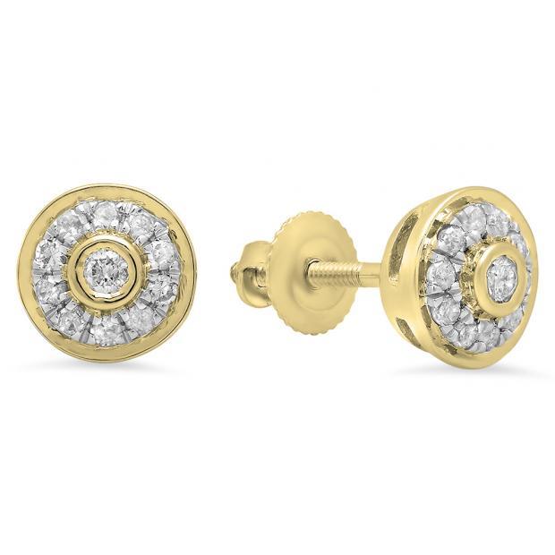 0.20 Carat (Ctw) 18K Yellow Gold Round Cut Diamond ladies Circle Stud Earrings