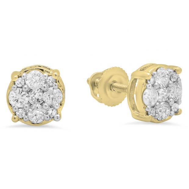 0.45 Carat (Ctw) 10K Yellow Gold Round Cut White Diamond Ladies Cluster Stud Earrings