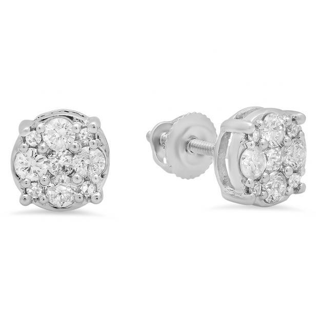 0.45 Carat (Ctw) 14K White Gold Round Cut White Diamond Ladies Cluster Stud Earrings