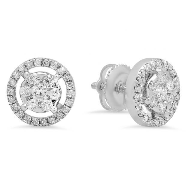 0.50 Carat (ctw) 18K White Gold White Diamond Ladies Cluster Flower Stud Earrings 1/2 CT