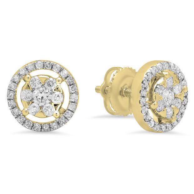 0.50 Carat (ctw) 18K Yellow Gold White Diamond Ladies Cluster Flower Stud Earrings 1/2 CT