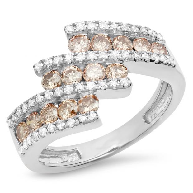 1.25 Carat (Ctw) 10K White Gold Round Champagne & White Diamond Ladies Bypass Fashion Right Hand Ring