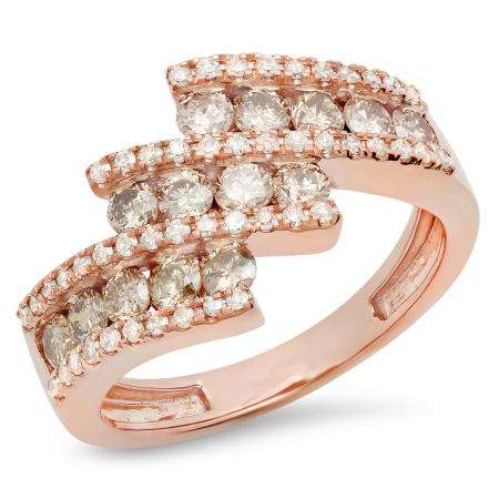 1.25 Carat (Ctw) 18K Rose Gold Round Champagne & White Diamond Ladies Bypass Fashion Right Hand Ring