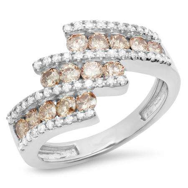 1.25 Carat (Ctw) 18K White Gold Round Champagne & White Diamond Ladies Bypass Fashion Right Hand Ring