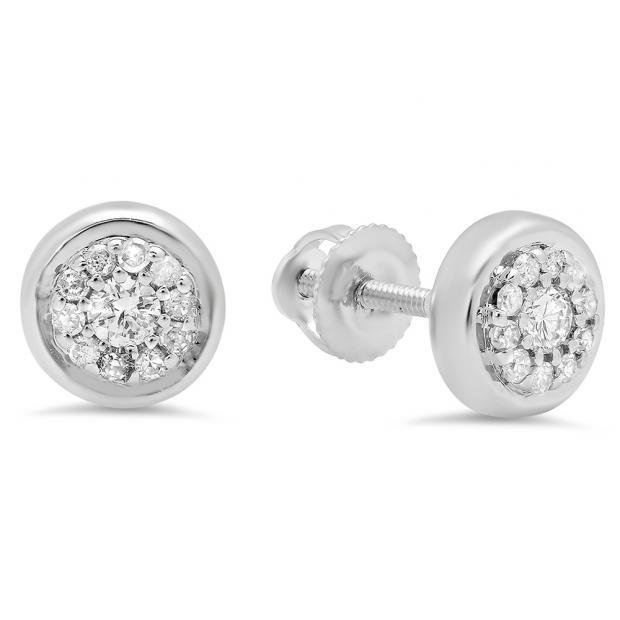 0.20 Carat (Ctw) 10K White Gold Round White Diamond Ladies Cluster Stud Earrings 1/4 CT