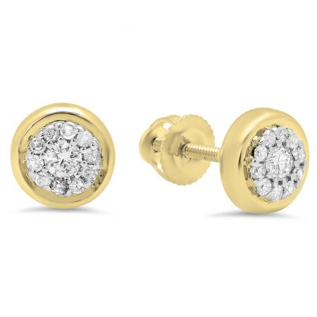 0.20 Carat (Ctw) 14K Yellow Gold Round White Diamond Ladies Cluster Stud Earrings 1/4 CT