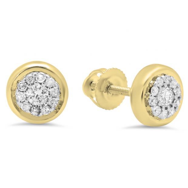 0.20 Carat (Ctw) 18K Yellow Gold Round White Diamond Ladies Cluster Stud Earrings 1/4 CT