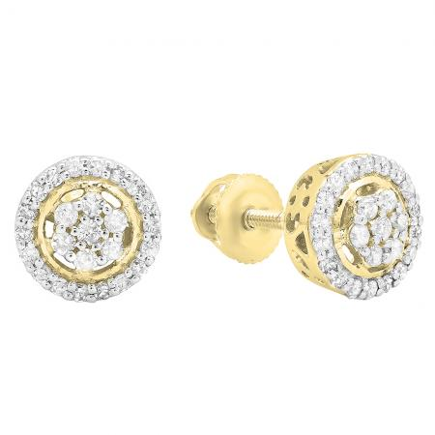 0.30 Carat (Ctw) 10K Yellow Gold White Diamond Ladies Cluster Flower Stud Earrings 1/3 CT