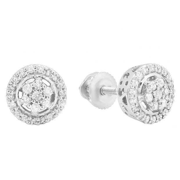 0.30 Carat (Ctw) 14K White Gold White Diamond Ladies Cluster Flower Stud Earrings 1/3 CT