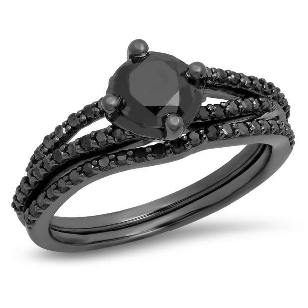 1.35 Carat (Ctw) Black Rhodium Plated Sterling Silver Round Black Diamond Ladies Split Shank Bridal Engagement Ring Set With Matching Band