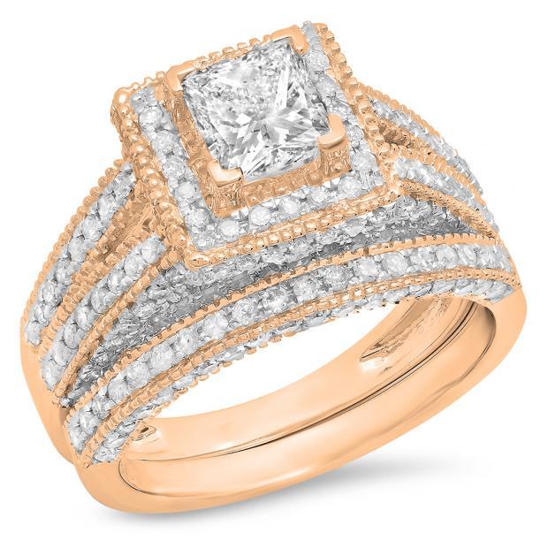 2.00 Carat (Ctw) 10K Rose Gold Princess & Round Cut White Diamond Ladies Split Shank Vintage Style Bridal Engagement Ring With Matching Band Set