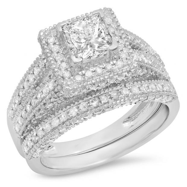 2.00 Carat (Ctw) 14K White Gold Princess & Round Cut White Diamond Ladies Split Shank Vintage Style Bridal Engagement Ring With Matching Band Set