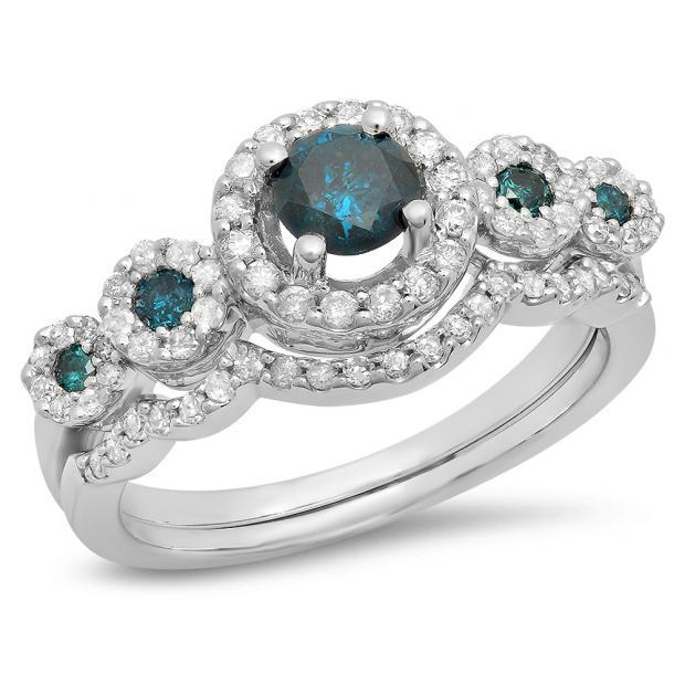 1.05 Carat (Ctw) 10K White Gold Round Blue & White Diamond Ladies 5 Stone Halo Bridal Engagement Ring With Matching Band Set