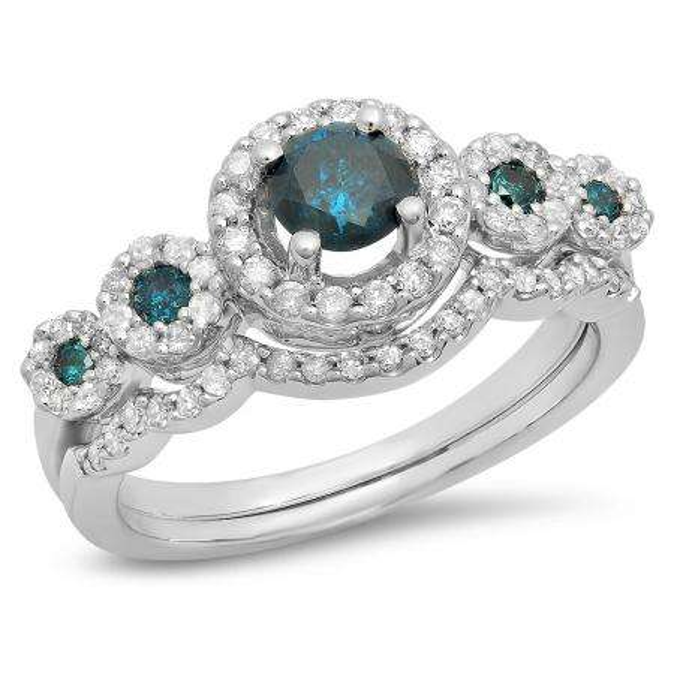 1.05 Carat (Ctw) 14K White Gold Round Blue & White Diamond Ladies 5 Stone Halo Bridal Engagement Ring With Matching Band Set