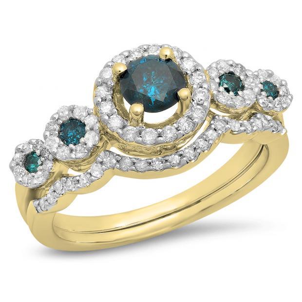 1.05 Carat (Ctw) 18K Yellow Gold Round Blue & White Diamond Ladies 5 Stone Halo Bridal Engagement Ring With Matching Band Set