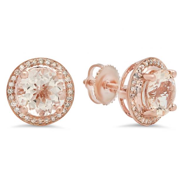 2.50 Carat (Ctw) 14k Rose Gold Round Morganite & White Diamond Ladies Halo Style Stud Earrings