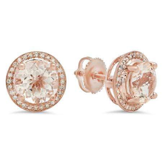 2.50 Carat (Ctw) 18k Rose Gold Round Morganite & White Diamond Ladies Halo Style Stud Earrings
