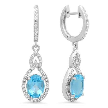 3.60 Carat (Ctw) 14K White Gold Oval Cut Blue Topaz & Round Cut White Diamond Ladies Pear Shaped Dangling Drop Earrings