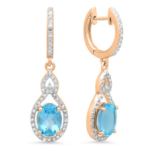 3.60 Carat (Ctw) 18K Rose Gold Oval Cut Blue Topaz & Round Cut White Diamond Ladies Pear Shaped Dangling Drop Earrings