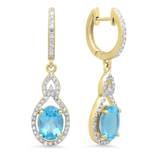 3.60 Carat (Ctw) 18K Yellow Gold Oval Cut Blue Topaz & Round Cut White Diamond Ladies Pear Shaped Dangling Drop Earrings