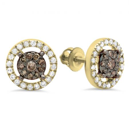 0.50 Carat (Ctw) 10K Yellow Gold Round Champagne & White Diamond Ladies Cluster Style Stud Earrings 1/2 CT