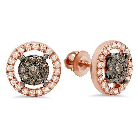 0.50 Carat (Ctw) 18K Rose Gold Round Champagne & White Diamond Ladies Cluster Style Stud Earrings 1/2 CT