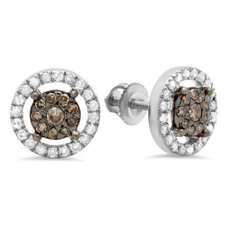 0.50 Carat (Ctw) 18K White Gold Round Champagne & White Diamond Ladies Cluster Style Stud Earrings 1/2 CT