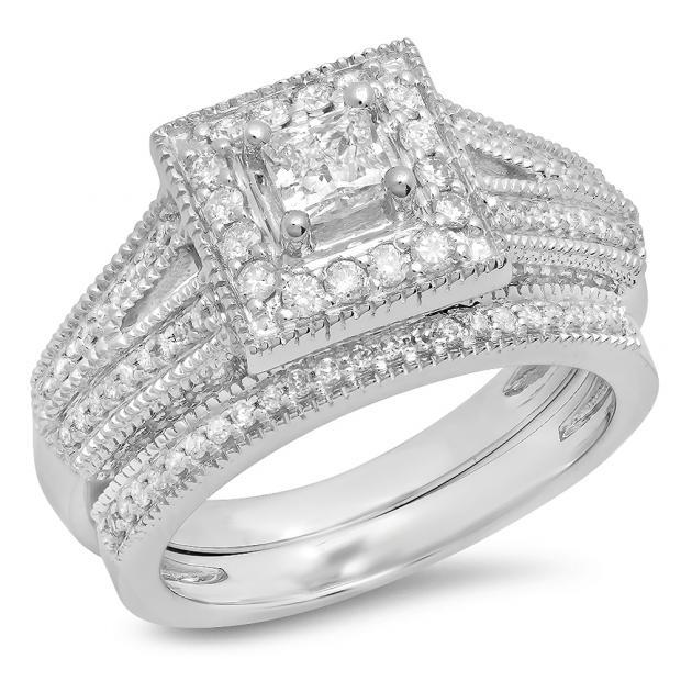 0.95 Carat (Ctw) 10K White Gold Princess & Round Cut White Diamond Ladies Split Shank Millgrain Bridal Engagement Ring With Matching Band Set