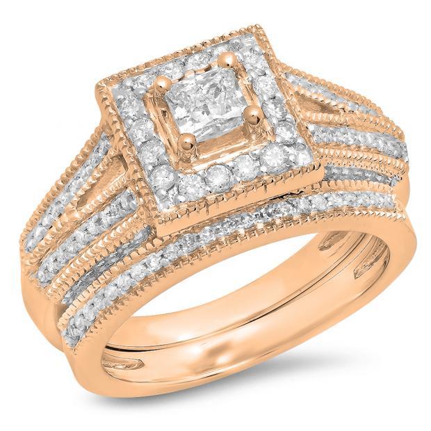 0.95 Carat (Ctw) 18K Rose Gold Princess & Round Cut White Diamond Ladies Split Shank Millgrain Bridal Engagement Ring With Matching Band Set